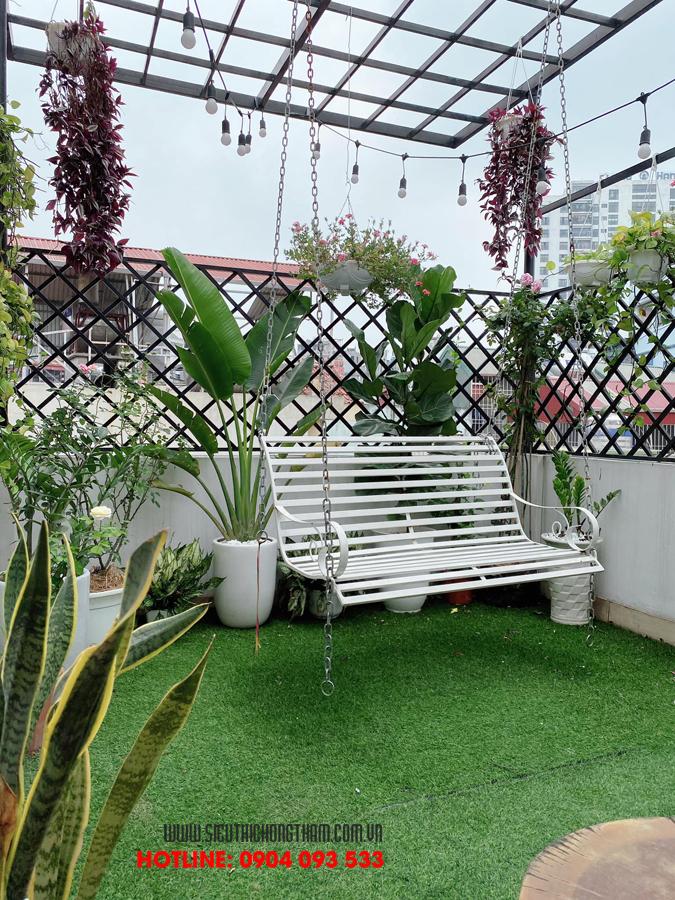 sân thượng trồng cây góc chil thảnh thơi của gia đình