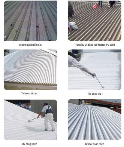 Silatex super từng bước thi công trên mái tôn cụ thể