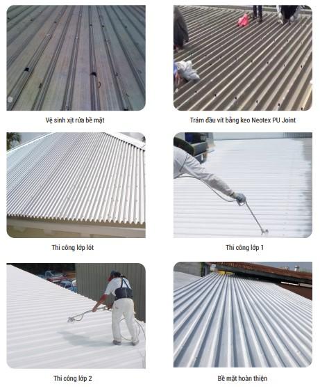 quy trình các bước chống thấm và chống nóng sàn mái tôn bằng Neoroof