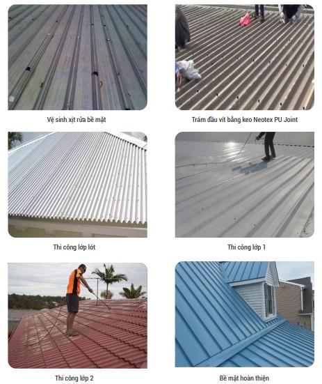 Các bước chống thấm mái tôn bằng Neodur FT Clear