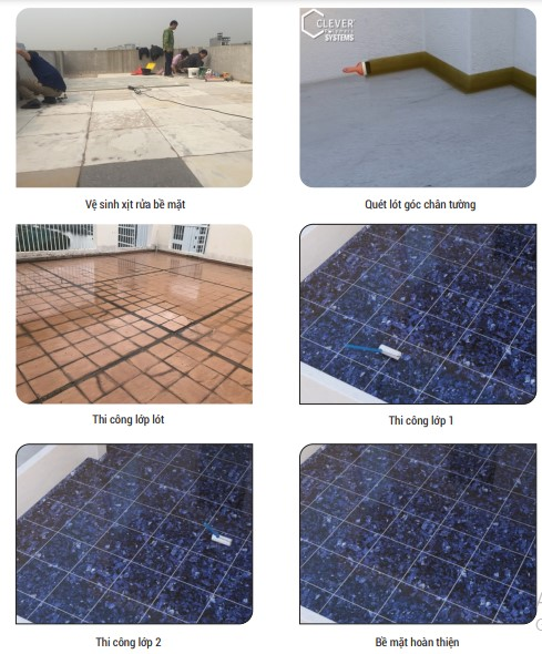 các bước chống thấm sàn mái gạch đỏ bằng Neodur FT Clearchi tiết