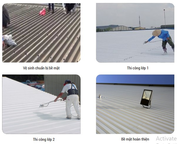 bản vẽ mô phỏng các lớp chống thấm mái tôn